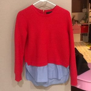 jcrew 100%wool 2fer sweater